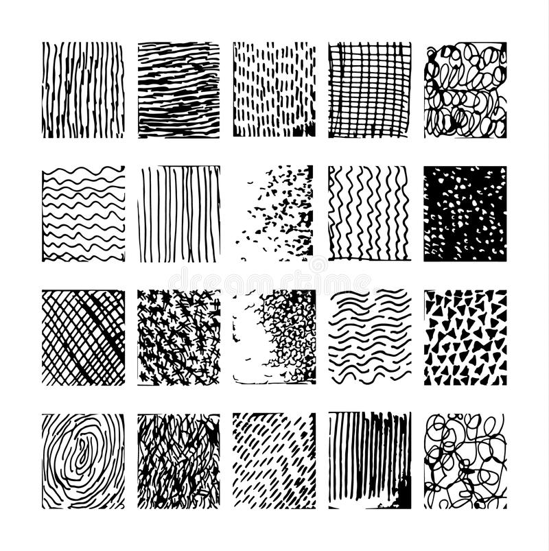 Set hand drawn striped pattern. Black and white. Design elements drawn strokes vector illustration