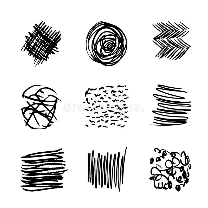 Set hand drawn striped pattern. Black and white. Design elements drawn strokes. The effect of gel pens vector illustration