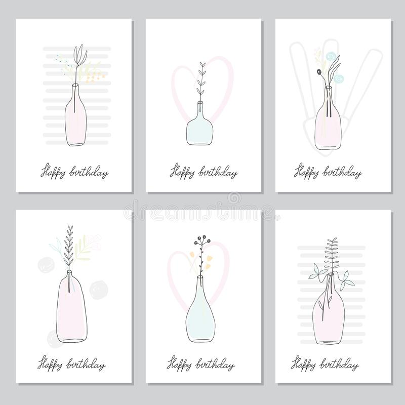 Collection with birthday cards stock illustration