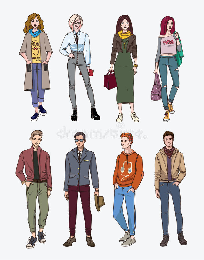 Set of hand drawn stylish young people at street. Collection fashion, trendy youth. Colorful illustration. royalty free illustration