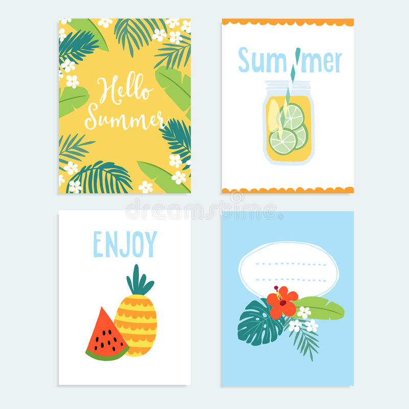 Set of hand drawn summer journaling cards, invitations with tropical fruit, flowers, and palm leaves. Vector stock illustration