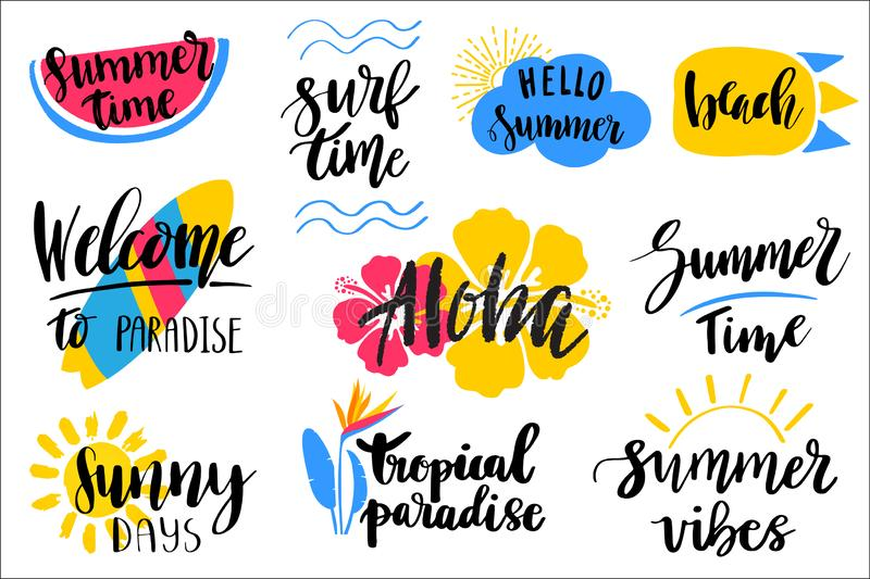 Set of hand drawn summer theme lettering phrases. Modern calligraphy quotes. Can be used for web, print, textile design stock illustration