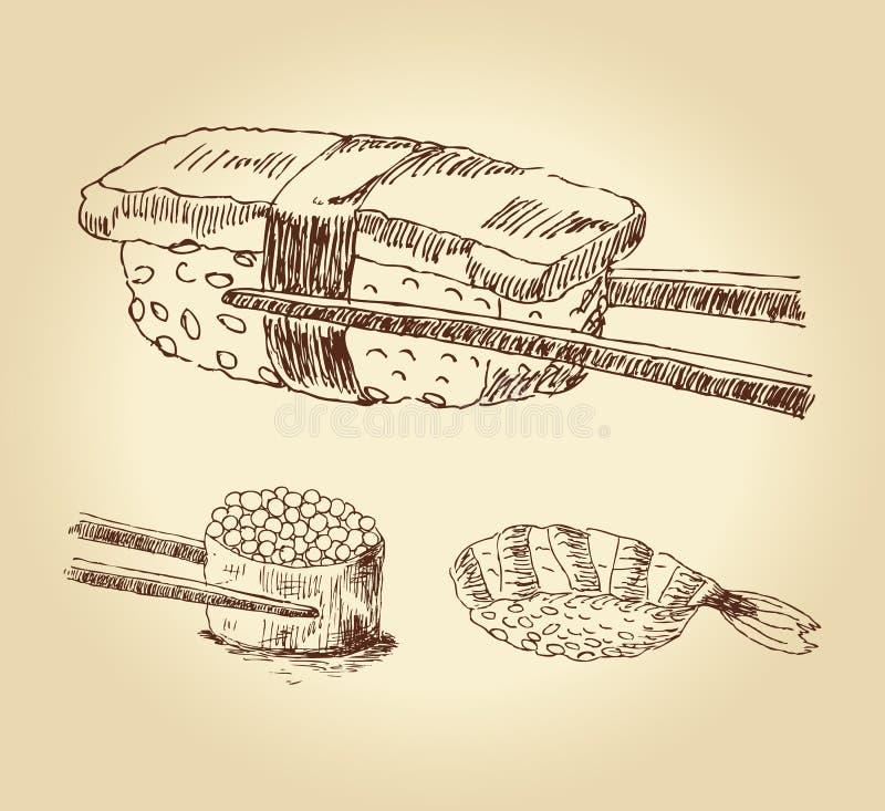 Set of hand drawn sushi vector illustration