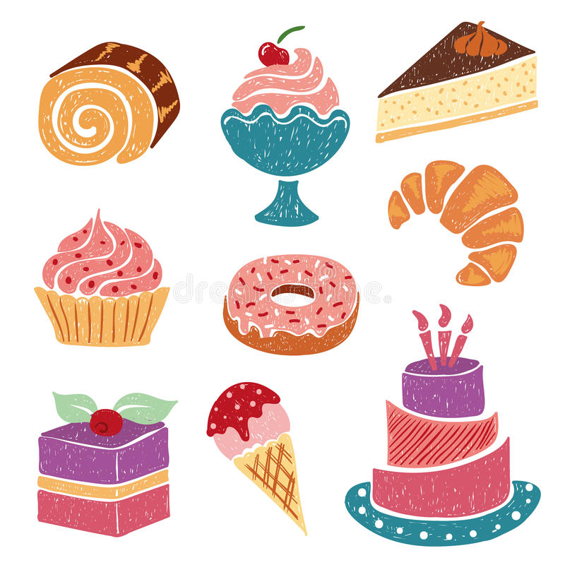 Set of hand drawn sweets and desserts - cake, ice cream, donut, croissant, pie, bakery. Vector illustration vector illustration