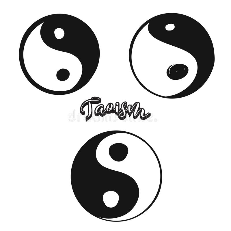 Set of hand-drawn Taoism symbols. Various religious historical symbols painted by hand. Vector drawing royalty free illustration