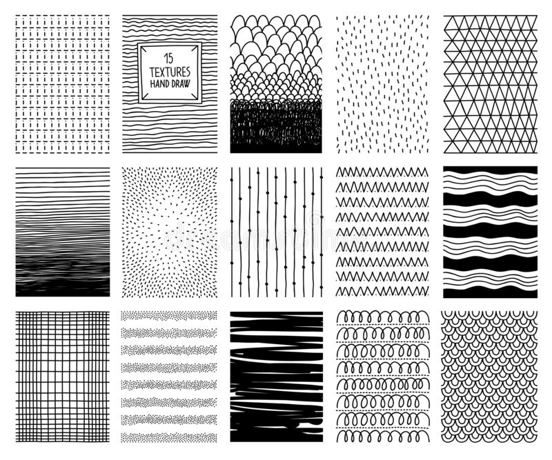 Set of hand drawn textures and patterns. Vector design elements stock illustration
