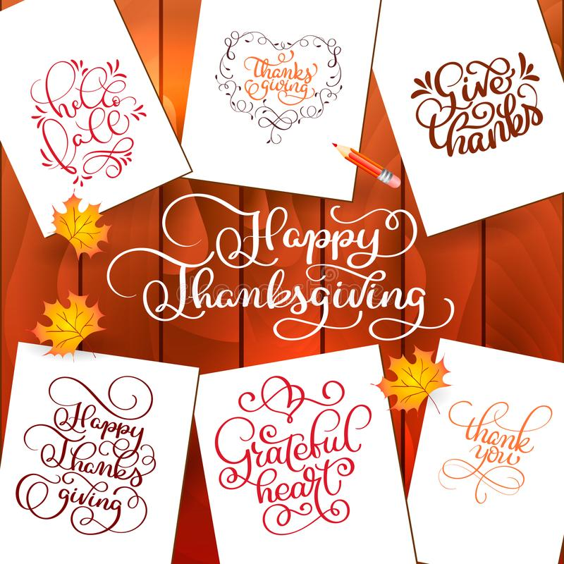 Set of Hand drawn Thanksgiving Day texts. Celebration quotes Happy Thanksgiving, Hello fale, Giving thanks, Grateful royalty free illustration