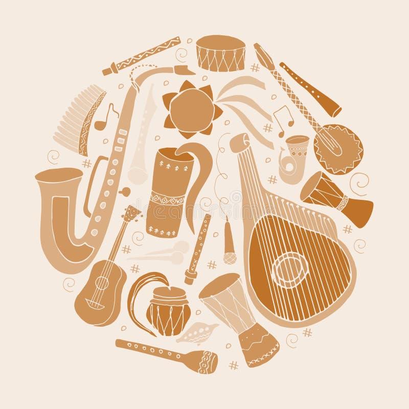 Set of hand drawn traditional Slavic, Ukrainian musical instruments in circle. Reed pipe, kobza, buhay, sopilka, bandura, pan. Flute etc vector illustration