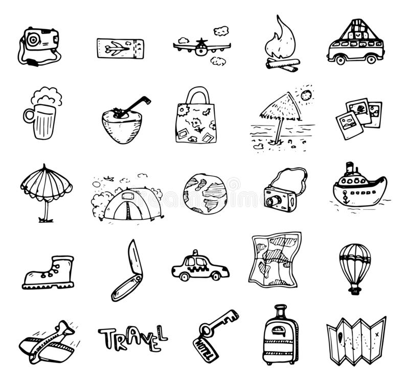 Set of hand drawn travel doodle. Vector illustration. Tourism and summer sketch with travelling elements: compass, bikini, stock illustration