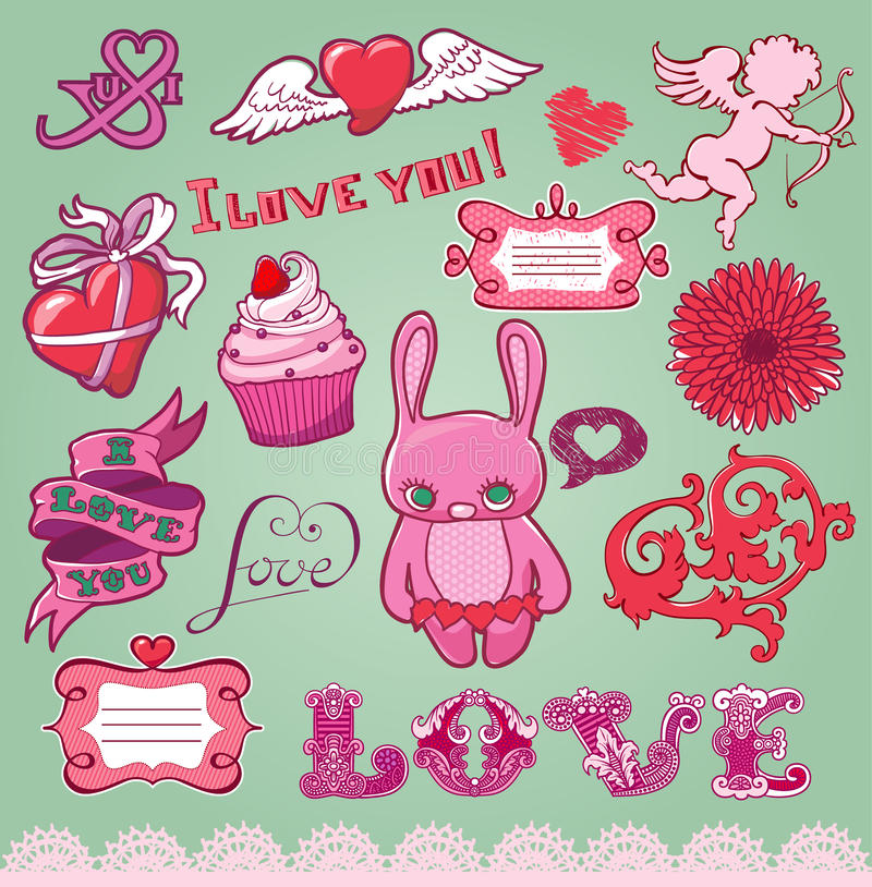 Download Set Of Hand-drawn Valentine's Elements For Design Stock Vector - Image: 28659779