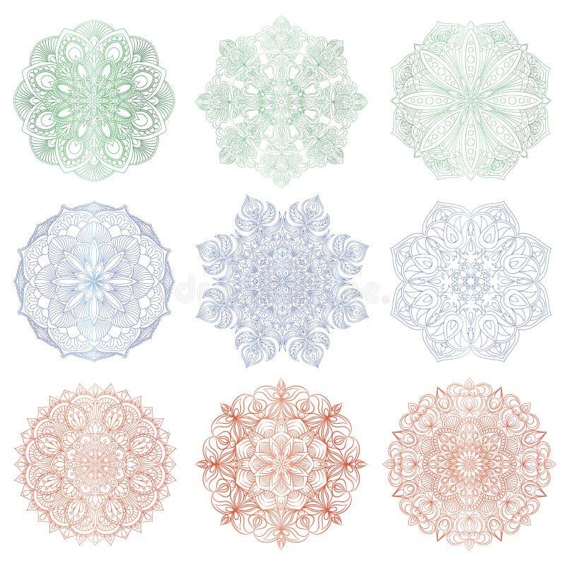 Download Set Of 9 Hand Drawn Vector Arabic Mandala On White Background Stock
