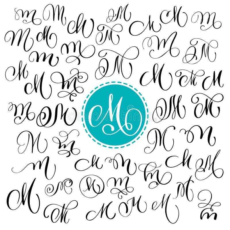 Set of Hand drawn vector calligraphy letter M. Script font. Isolated letters written with ink. Handwritten brush style. Hand lettering for logos packaging vector illustration