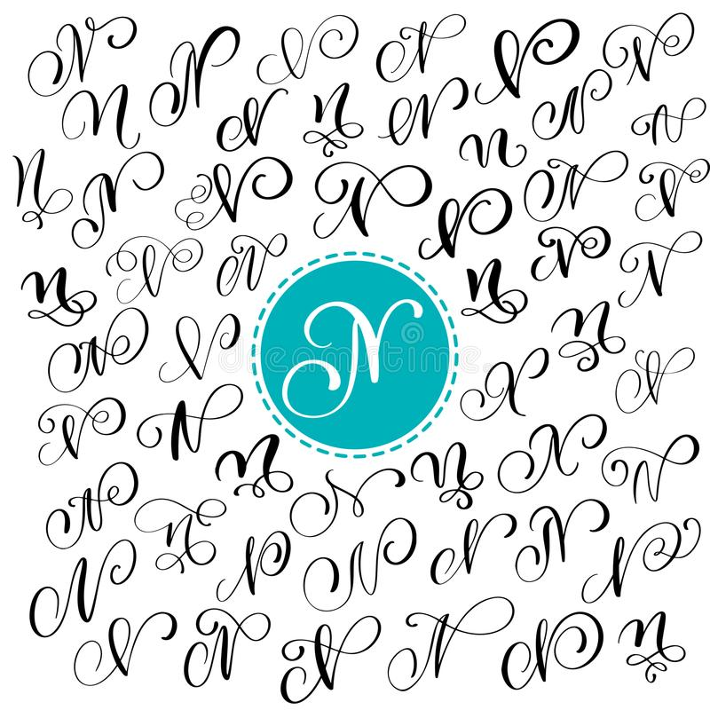 Set of Hand drawn vector calligraphy letter N. Script font. letters written with ink. Handwritten brush style. Hand lettering for logos packaging design poster stock illustration