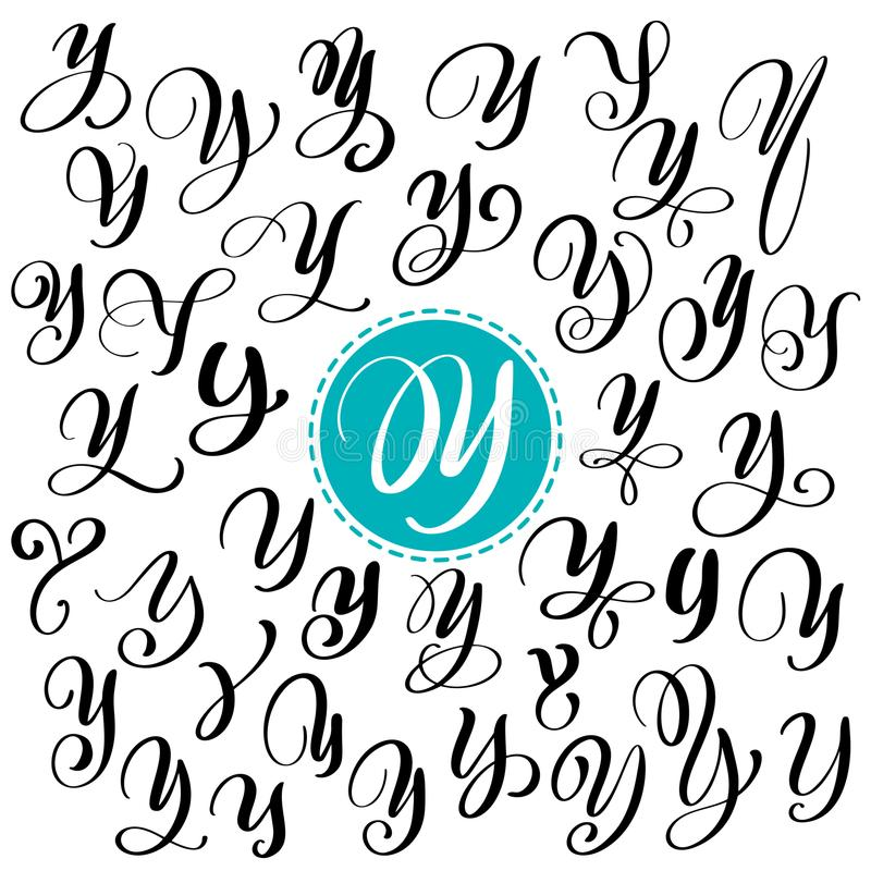 Download Set Of Hand Drawn Vector Calligraphy Letter Y Script Font Isolated Letters Written