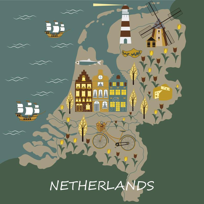 Set of hand drawn vector doodles of Amsterdam, Netherlands. Vector illustration in cartoon style with symbols of Amsterdam royalty free illustration