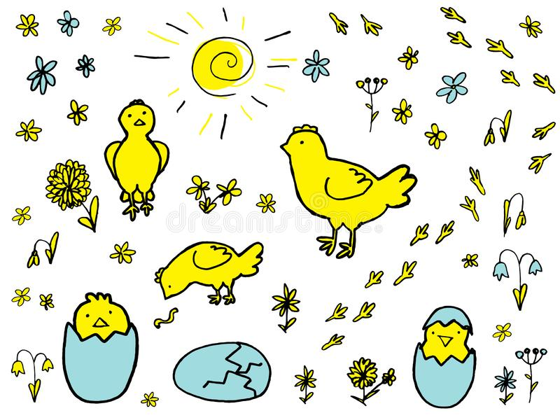 Set of Hand Drawn Vector Elements for Easter Design stock illustration