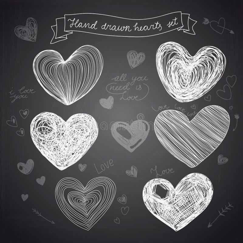 Set of Hand drawn vector hearts stock illustration