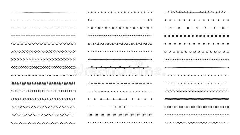 Set of hand drawn vector line border. Lines, borders, underline pencil strokes, drawing dividers. Doodle design. Geometric vintage. Fashion collection vector illustration