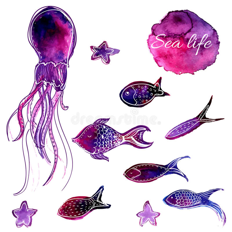 Set of hand drawn vector watercolor underwater fishes and octopus. Artistic design elements. Set of hand drawn watercolor underwater fishes and octopus stock illustration