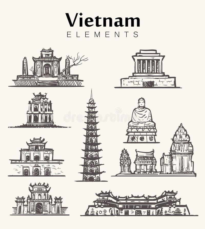 Set of hand-drawn Vietnam buildings.Vietnam sketch illustration. Tu Cam Thanh,Hanoi citadel,Ho Chi Minh Mausoleum,Cham Po Nagar tower,White Buddha,The tomb of stock illustration