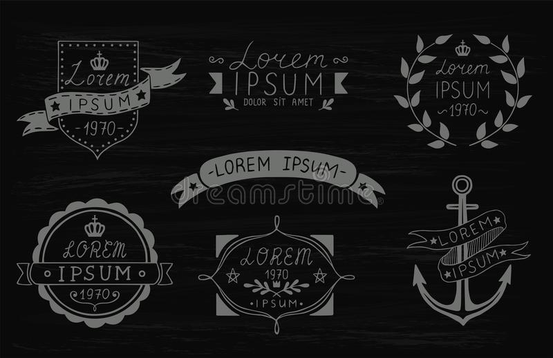 Set of hand drawn vintage labels. Templates for design of labels, emblems, logotypes. Vector illustration. stock illustration