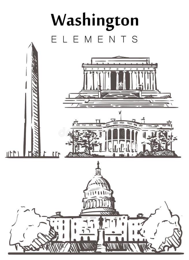 Set of hand-drawn Washington buildings, sketch  illustration vector illustration