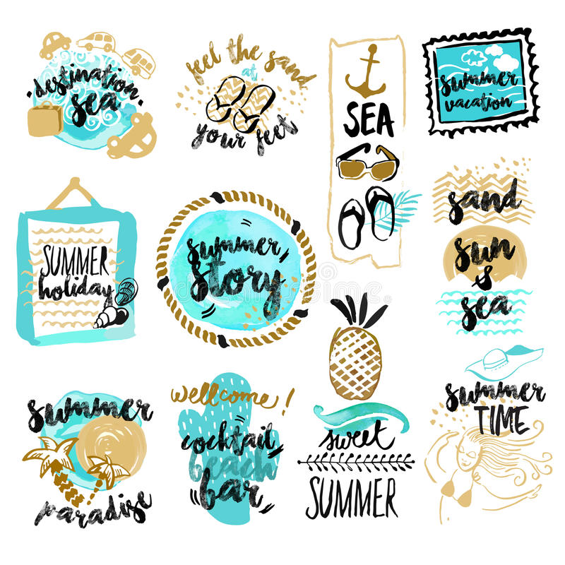 Set of hand drawn watercolor badges and stickers of summer. Vector illustrations for summer holiday, travel and vacation, restaurant and bar, menu, sea and sun royalty free illustration