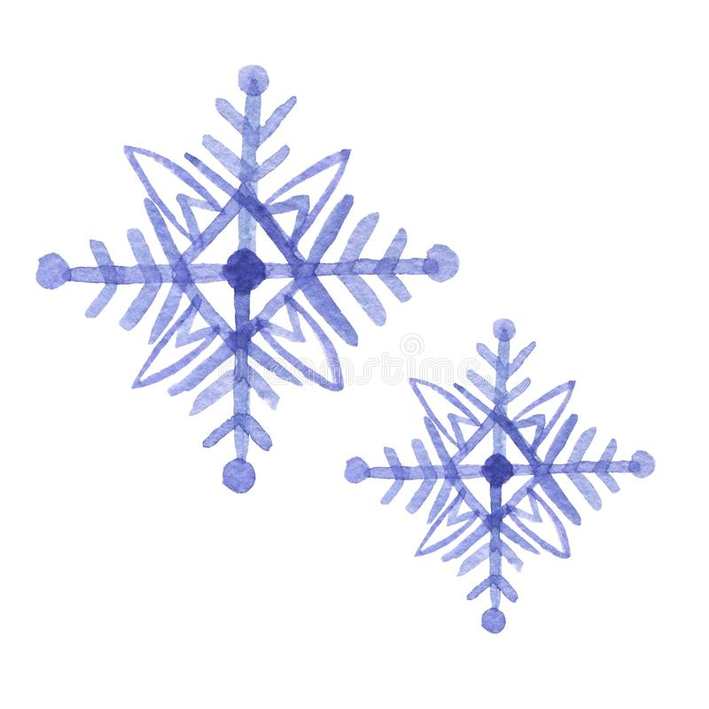 Set of hand drawn watercolor blu freezing snowflake isolated on white background. Holiday traditional decoration, sign of winter,. Cold weather. Can be used for vector illustration