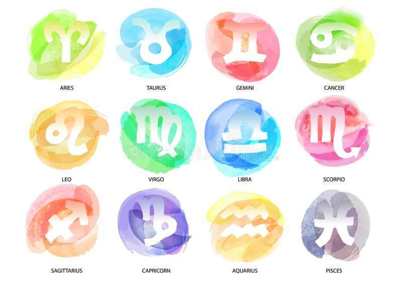 Set of hand drawn watercolor brush zodiac signs. Vector illustration created with custom brushes, not auto-tracing. vector illustration