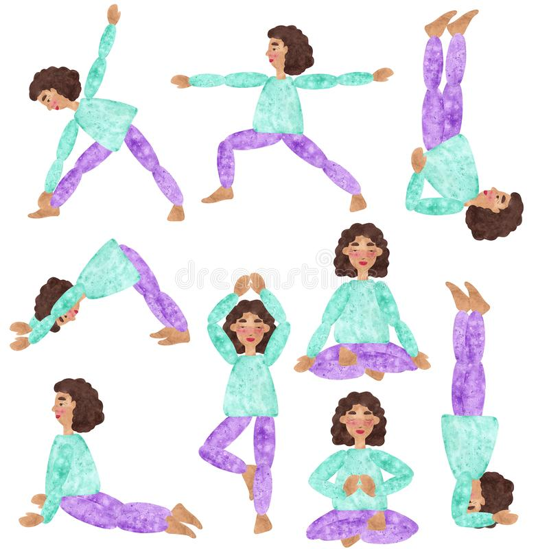 Set of hand drawn watercolor collages of of a girl with dark curly hair in blue shirt and purple pants, making yoga pose. Illustration for magazine or stock illustration