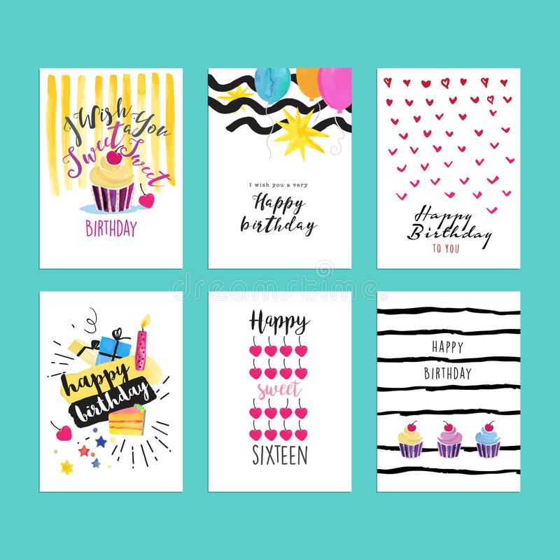 Set of hand drawn watercolor illustrations for birthday greeting cards vector illustration