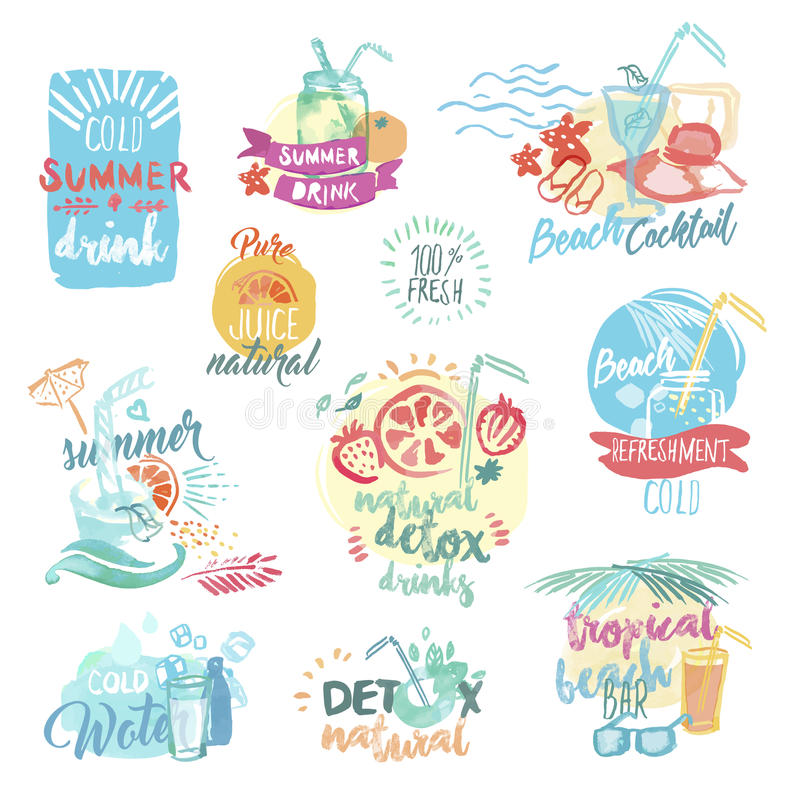 Set of hand drawn watercolor labels and badges of seafood royalty free illustration