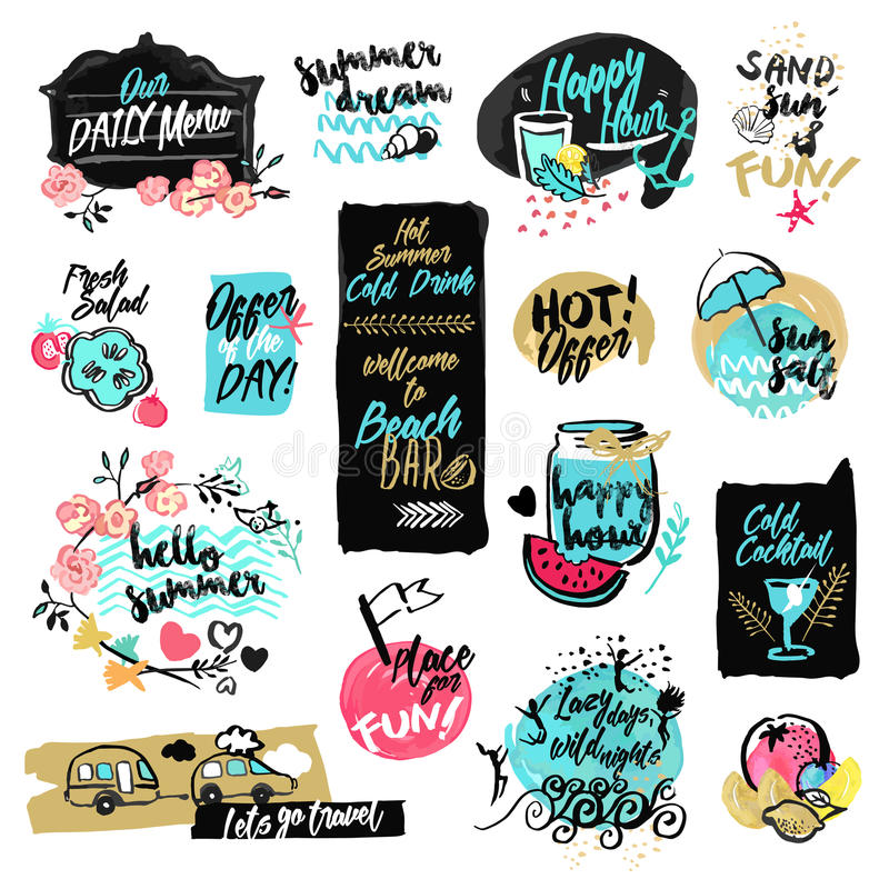 Set of hand drawn watercolor labels and badges of summer vector illustration