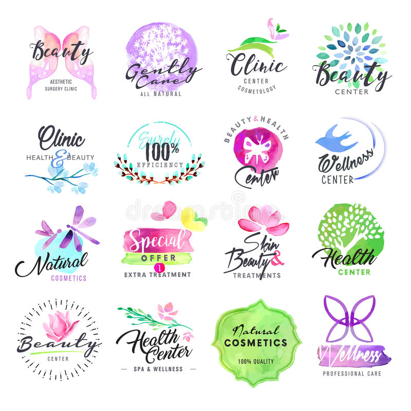 Set of hand drawn watercolor labels for beauty and cosmetics stock illustration