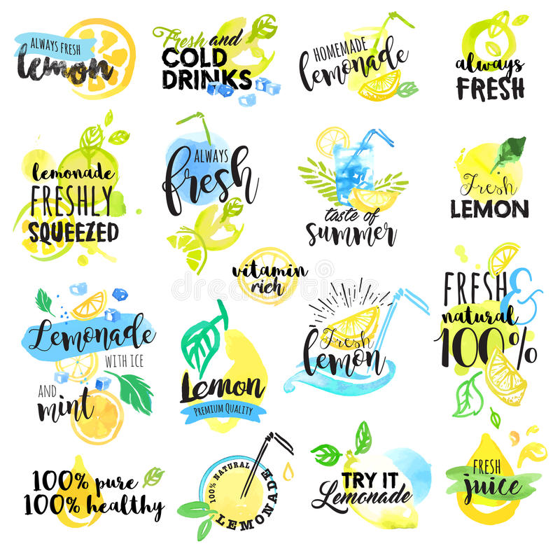Set of hand drawn watercolor labels and signs of lemon and lemonade vector illustration