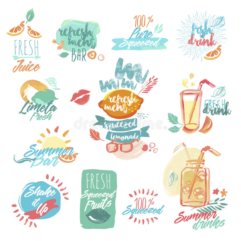 Set of hand drawn watercolor labels and signs of seafood. Set of hand drawn watercolor labels and signs of fresh fruit juice and drinks. Vector illustrations for