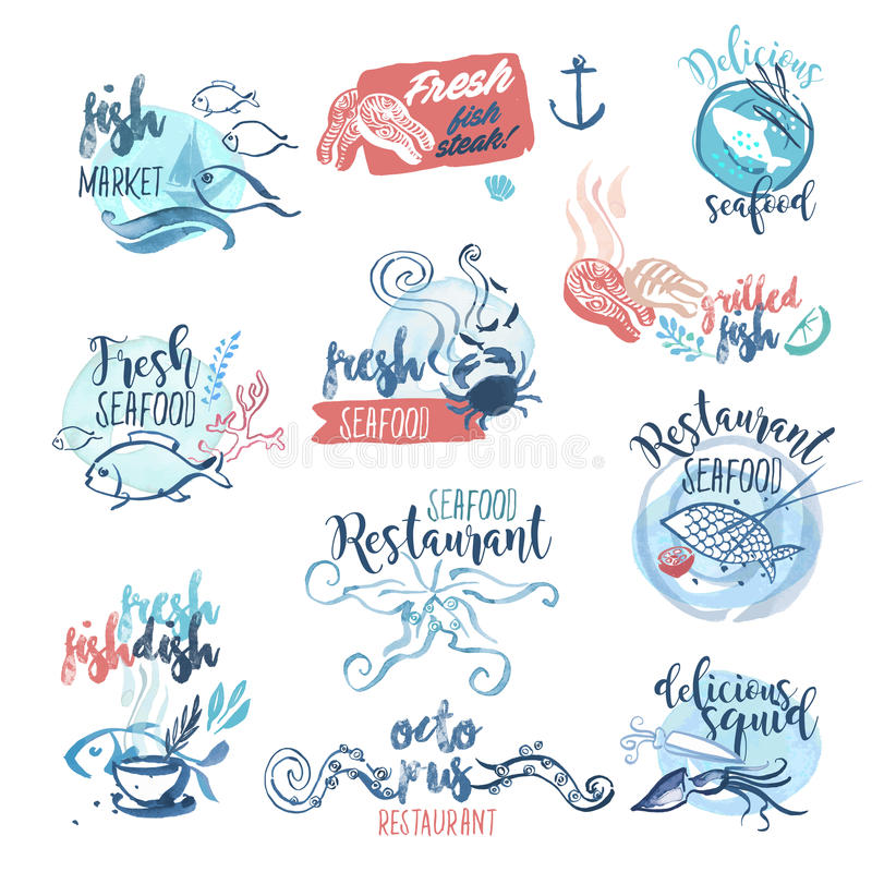 Set of hand drawn watercolor labels and signs of seafood royalty free illustration