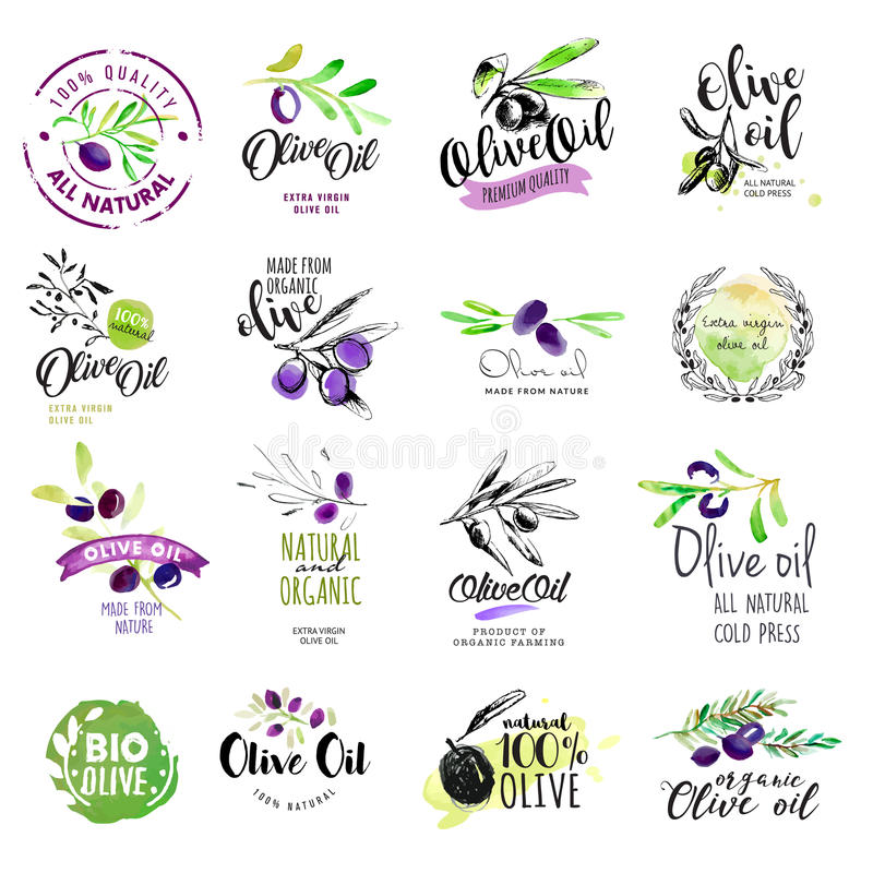 Set of hand drawn watercolor labels and stickers of olive oil royalty free illustration
