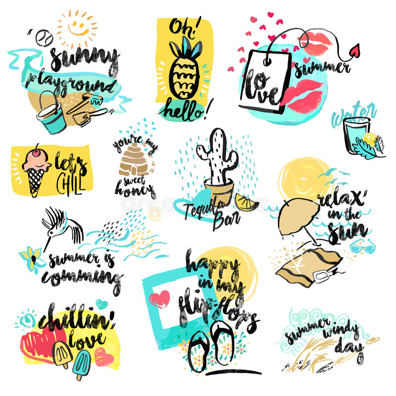 Set of hand drawn watercolor signs of summer stock illustration