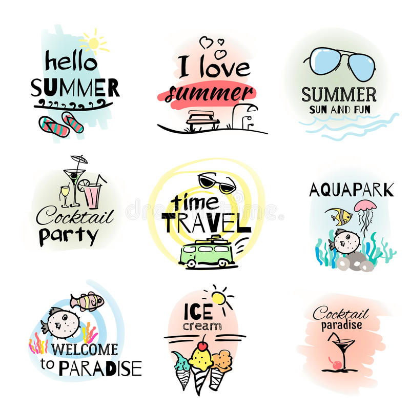 Set of hand drawn watercolor summer signs royalty free stock images