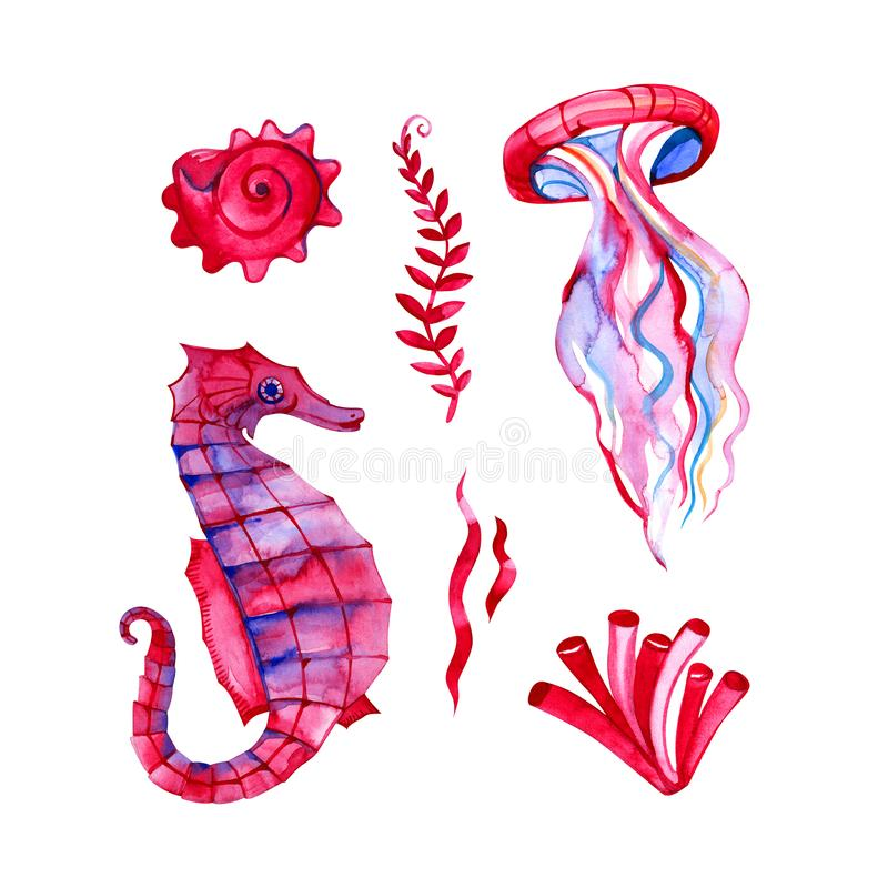 Set of hand drawn watercolor underwater fishes and octopus. Artistic design elements. Set of hand drawn watercolor underwater fishes and octopus. Artistic stock illustration