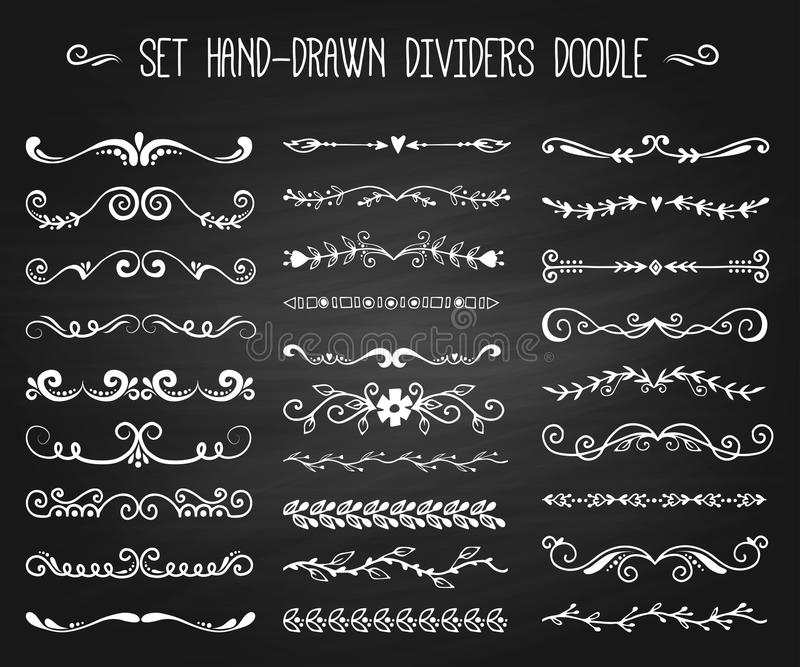 Set of hand drawn white doodle design elements decorative floral dividers arrows and swirls branch vintage decoration on royalty free illustration