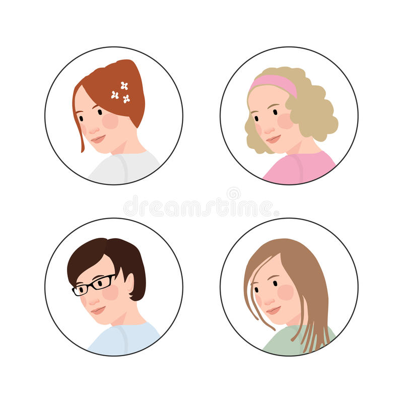 Set of hand drawn womens heads with various hair styles. Circle icons. Set of hand drawn womens heads with various hair styles. Circle icons, avatars for social vector illustration