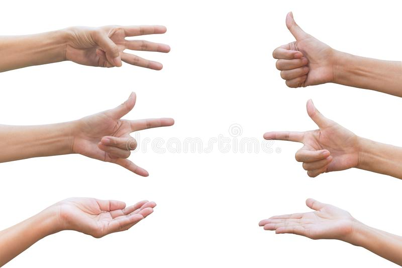 Set of hand gesture and sign collection isolated on white background. Multiple hand gestures. royalty free stock photos