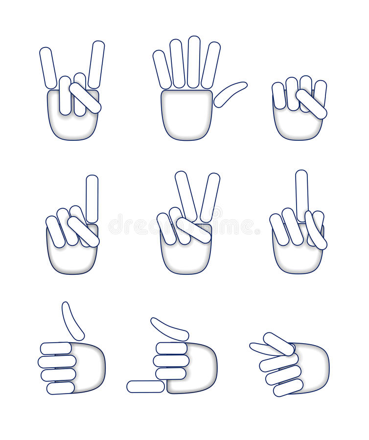Download A set of hand gestures. stock vector. Image of ideas - 29358431