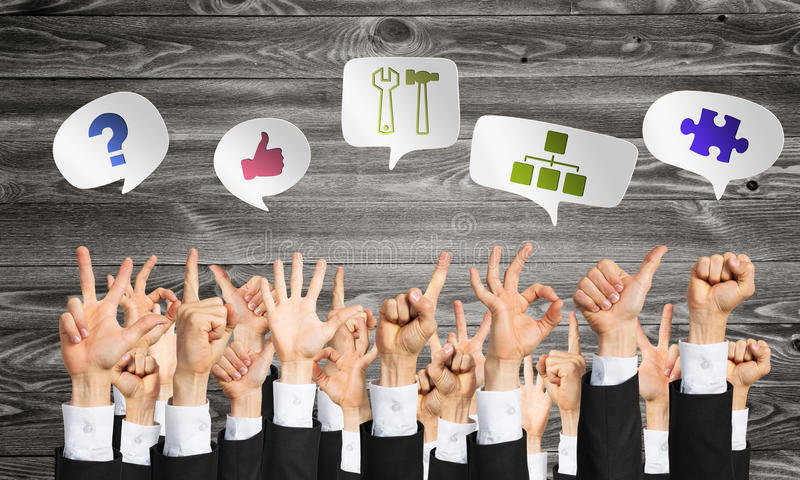 Set of hand gestures and icons. Many hands of businesspeople showing different gestures stock images