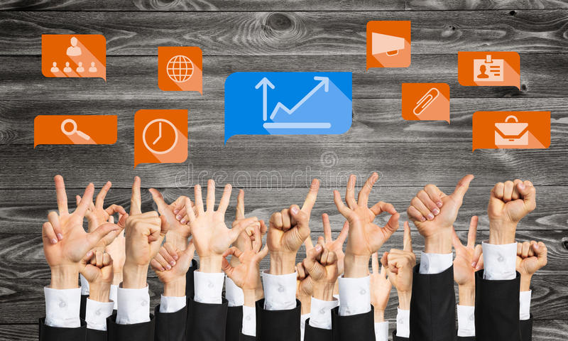 Set of hand gestures and icons. Many hands of businesspeople showing different gestures stock photography