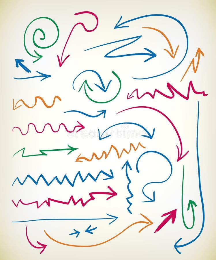 Set Hand gezeichnete Pfeile vektor abbildung