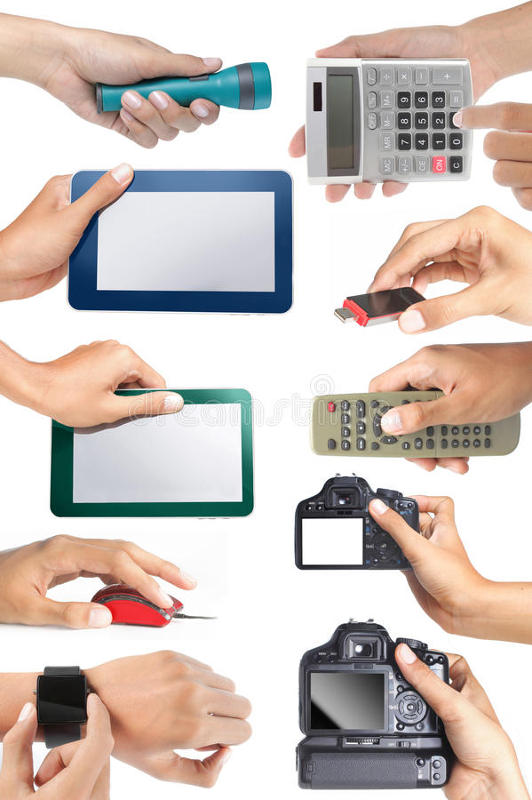 Download Set Of Hand Holding Electronic Devices Stock Photo - Image: 19469742
