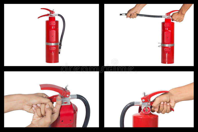 Set of hand holding fire extinguisher. stock photos